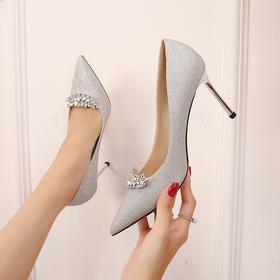 QGMR-N1479新款银色水钻尖头性感高跟鞋TZF