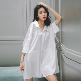 PDD-YMX200704新款时尚气质性感薄款长袖白衬衫家居服TZF
