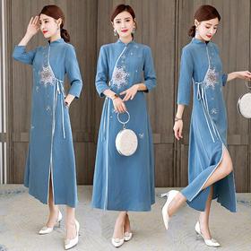 HT-N-E253-9156-156新款中国风宽松立领刺绣系带七分袖连衣裙TZF