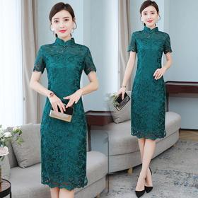 AHM-zne9300新款中国风优雅气质修身蕾丝改良旗袍裙TZF