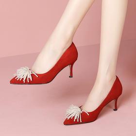 KBY-HZZN773新款时尚真皮尖头珍珠浅口细高跟鞋TZF