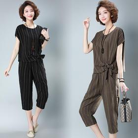 CQ-LYW122新款潮流时尚气质圆领短袖条纹衬衫七分裤两件套TZF