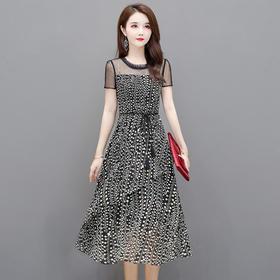 YWE-TB-CS20A189新款时尚气质收腰显瘦短袖印花中长款连衣裙TZF