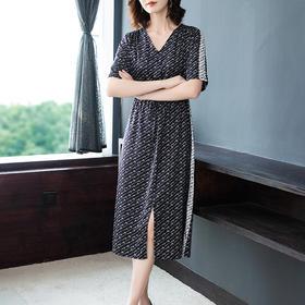 AHM-as0835新款时尚气质修身显瘦短袖印花连衣裙TZF