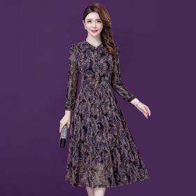 YMR8267新款优雅气质修身显瘦印花长袖连衣裙TZF