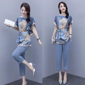 CQ-MJ2073新款潮流时尚宽松系带短袖印花衬衫休闲裤两件套TZF