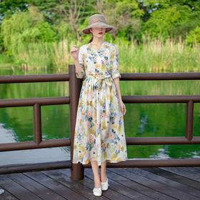 LTFS06新款原创复古苎麻天丝连衣裙