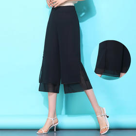 AQL10573610新款雪纺开叉大码高腰裙裤TZF