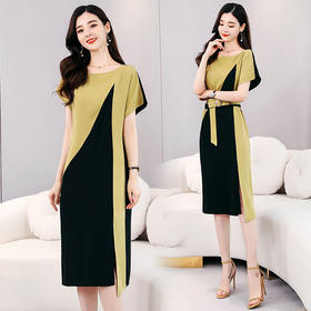 HRFS-WQ18579新款时尚气质收腰显瘦不规则拼接连衣裙TZF