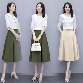 CQ-XYFS5908新款时尚甜美翻领衬衫百搭过膝半身裙两件套TZF
