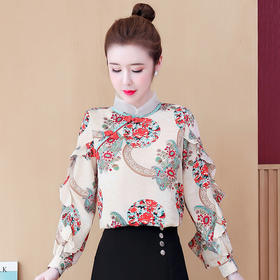 KQL-527T9372新款中国风立领旗袍盘扣荷叶边碎花衬衫TZF