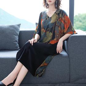 AHM-as0831新款时尚气质V领宽松休闲印花中长款连衣裙TZF