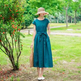 LTFS059新款气质时尚蓝色纯亚麻连衣裙TZF