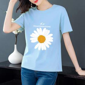 TZFFS新款韩版时尚气质宽松印花短袖T恤TZF