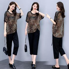 CQ-ZYQ6067新款潮流时尚豹纹T恤七分裤两件套TZF
