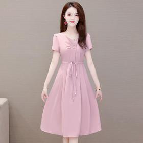 气质减龄,修身中长款短袖收腰连衣裙YW-XQD-YQ2020
