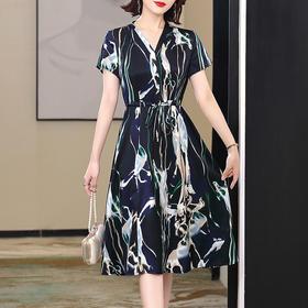 KQLFS2998新款优雅气质收腰系带显瘦短袖V领桑蚕丝印花连衣裙TZF