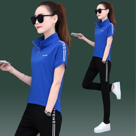SP1003305新款时尚气质立领短袖T恤休闲长裤两件套TZF