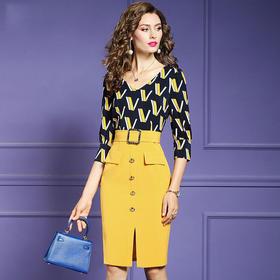 FMY30258新款优雅气质收腰显瘦V领印花拼接包臀裙TZF