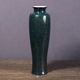 犀皮漆观音瓶蓝色矮