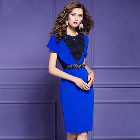 FMY30731新款优雅气质收腰显瘦短袖钉珠连衣裙TZF