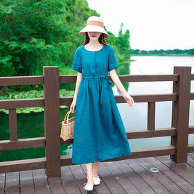 LTFS039新款民族风优雅气质短袖亚麻中长款连衣裙TZF