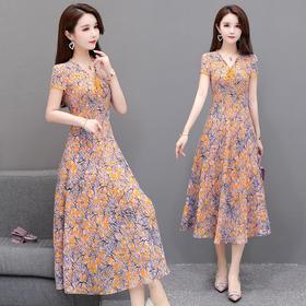 XFFS9163新款时尚优雅气质收腰显瘦V领碎花连衣裙TZF