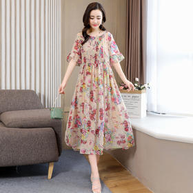 XYFS-HMG6622新款优雅气质收腰大摆型印花连衣裙TZF