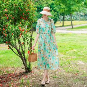LTFS026新款复古优雅气质收腰显瘦亚麻天丝印花连衣裙TZF