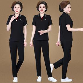SP16520122新款时尚洋气翻领T恤休闲长裤两件套TZF