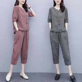 HT8817新款时尚气质棉麻短袖格子上衣休闲七分裤两件套TZF
