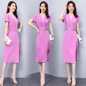 XYFS-SNX2081新款优雅气质修身显瘦V领拼接蕾丝连衣裙TZF(配腰带)