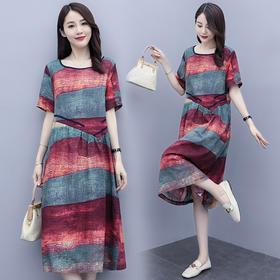 HRFS-WX73509新款时尚气质宽松收腰圆领条纹连衣裙TZF