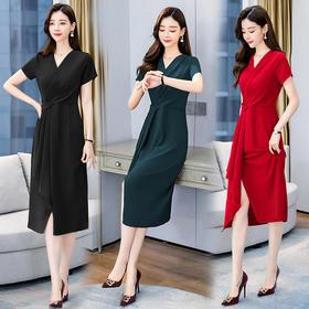 HRFS-WZ60919新款时尚优雅气质收腰系带V领中长款连衣裙TZF