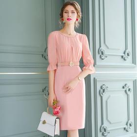 FMY30982新款优雅气质收腰轻熟风钉珠蕾丝拼接包臀裙TZF