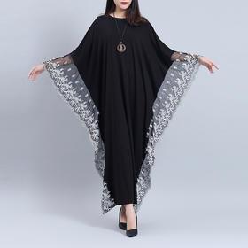 PDD-MSB200705新款潮流时尚气质宽松蝙蝠袖蕾丝边连衣裙TZF