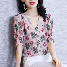 HT560新款时尚洋气娃娃领碎花衬衫TZF