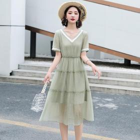 HRFS-WY60289新款潮流时尚气质撞色拼接V领连衣裙TZF