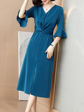 XFFS2196新款名媛气质收腰显瘦喇叭袖连衣裙TZF