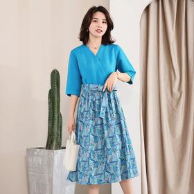 LTFS025新款气质印花亚麻连衣裙TZF