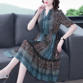 XFFS新款优雅气质收腰系带显瘦中长款印花连衣裙TZF