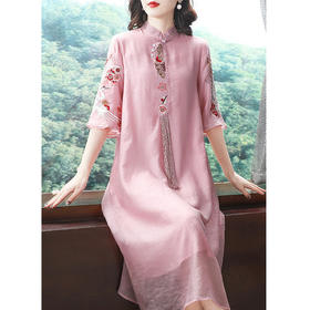 KDS905新款中国风优雅气质宽松立领天丝刺绣连衣裙TZF