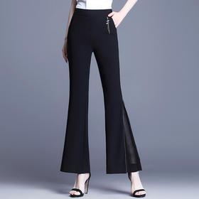 QZF-XS3206新款时尚气质高腰薄款蕾丝拼接坠感九分微喇叭裤TZF