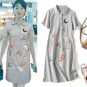 LSSZ-LS0070201新款潮流时尚明星同款刺绣休闲连衣裙TZF