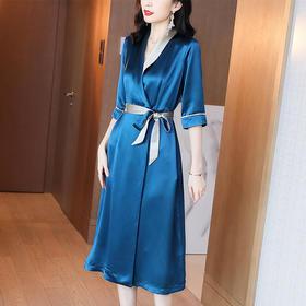 XFFS2197新款时尚优雅气质收腰系带显瘦V领连衣裙TZF