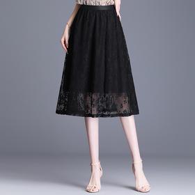 QZF-JYM2103新款时尚气质高腰中长款蕾丝百搭半身裙TZF