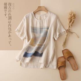 CYFS2255新款气质薄款宽松短袖开叉纯亚麻印花小衫TZF