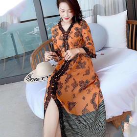 NSBD1888新款时尚优雅气质V领松紧腰桑蚕丝印花连衣裙TZF