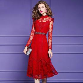 FMY30378新款时尚优雅气质收腰显瘦过膝蕾丝印花连衣裙TZF