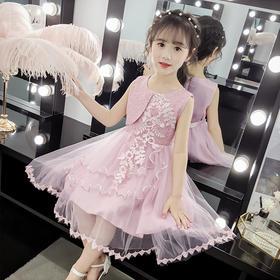 JSL-KM1922新款时尚洋气无袖网纱贴花公主裙TZF